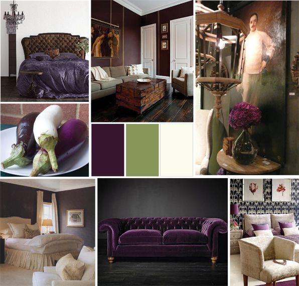 Alamodeus Mood Board Eggplant Vs Gray Colorful Bedroom Decor Purple Living Room Decor #warm #color #palette #living #room