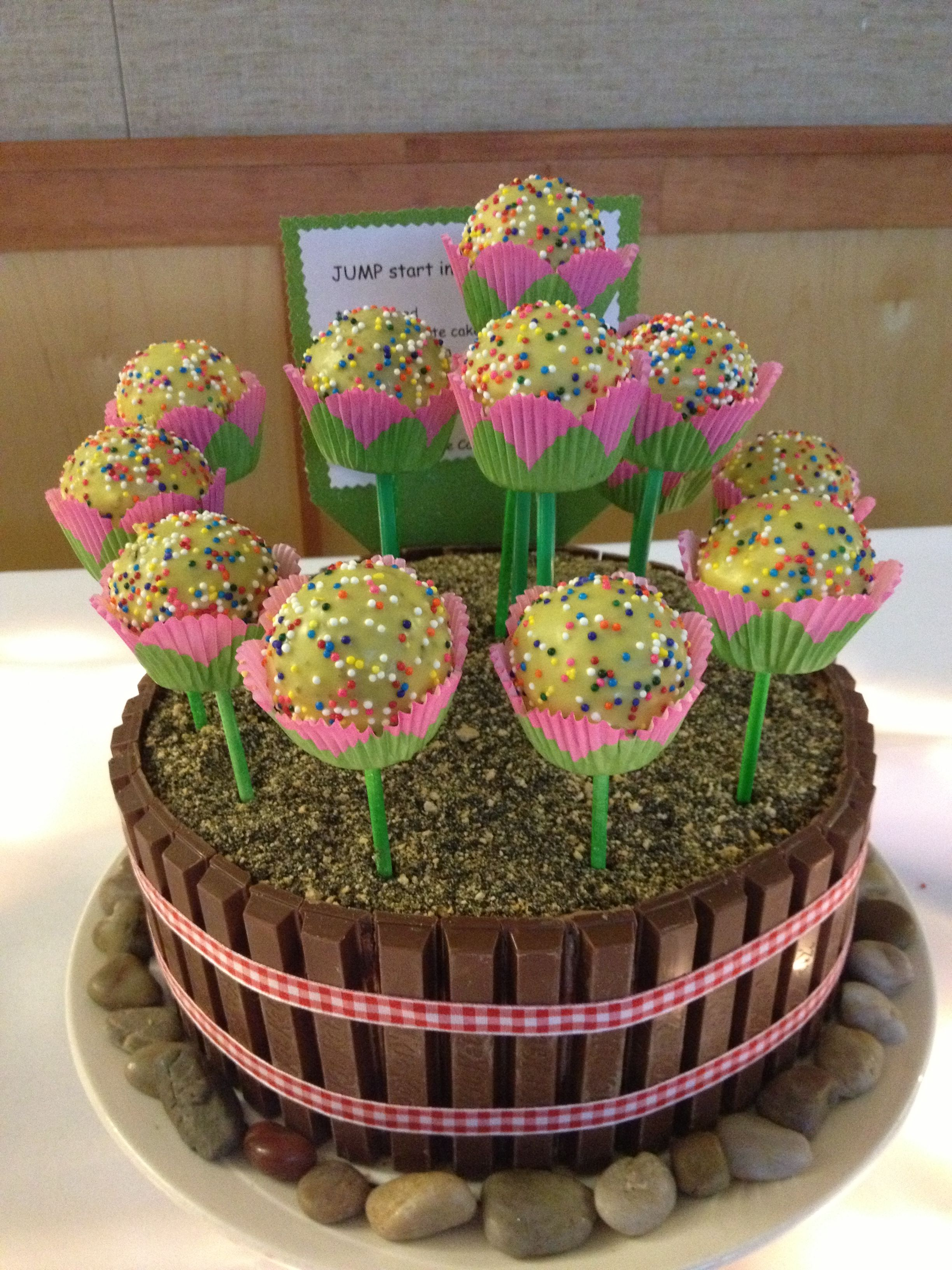 Spring flower pot with cakepop flowers! *Flower bed