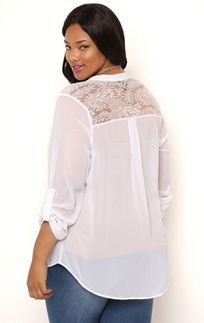 Plus Size Long Sleeve Button Front Top with Pockets and Lace Back