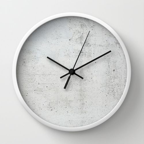 Concrete Wall Clock By Patterns And Textures Society6 Diy Clock Wall Wall Clock Design Clock Wall Decor