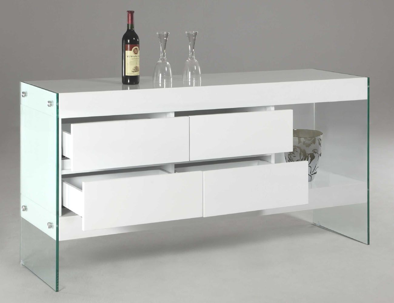 Made Of Eco Friendly Solid Wood The Contemporary Sideboard Is To Last And Finished In An Attractive White Lacquer