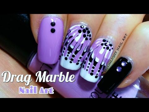 Easy Pink Purple Dry Marble Nail Art Einfaches Nageldesign Fur