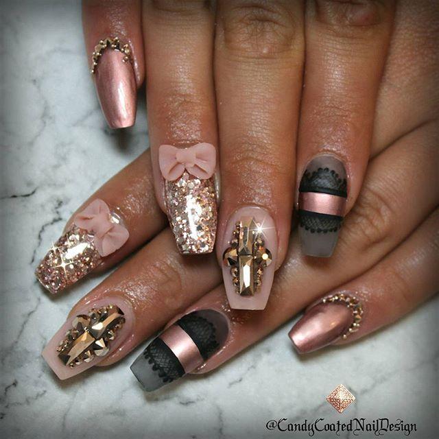 Hot nails - Love The Bows!! Hair & MakeUp Pinterest Pretty Nails, Coffin