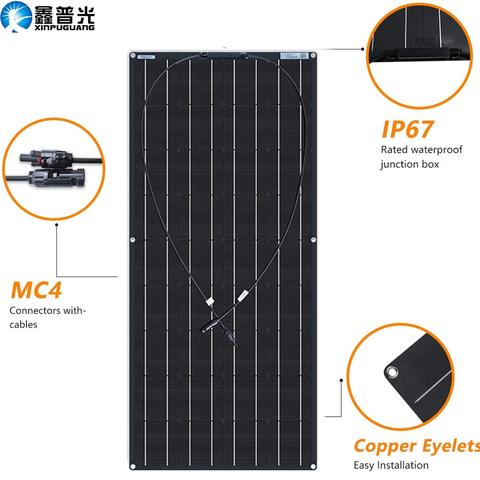Allpowers 160w 18v 12v Solar Panel Monocrystalline Lightweight Flexible Solar Charger With Mc4 Connector 12v Solar Panel Solar Panels Roof Solar Panel
