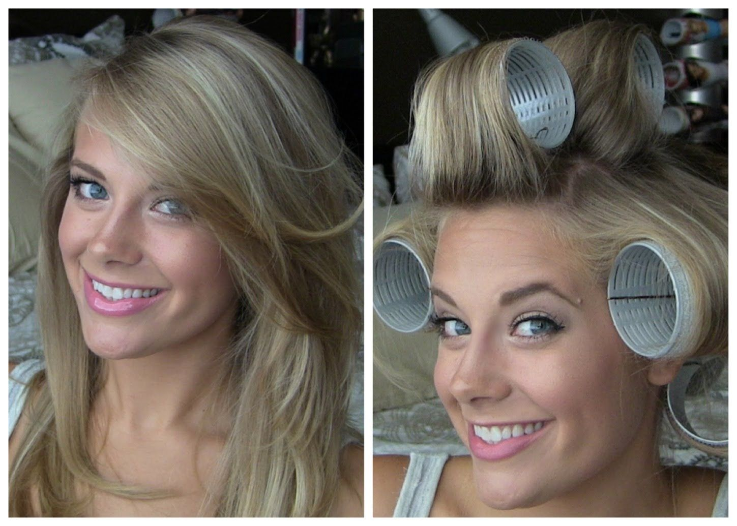 Voluminous hair with velcro rollers for medium volume and normal