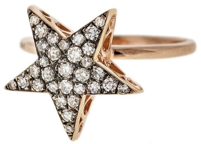 SELIM MOUZANNAR LARGE DIAMOND STAR RING - ROSE GOLD #StarRing