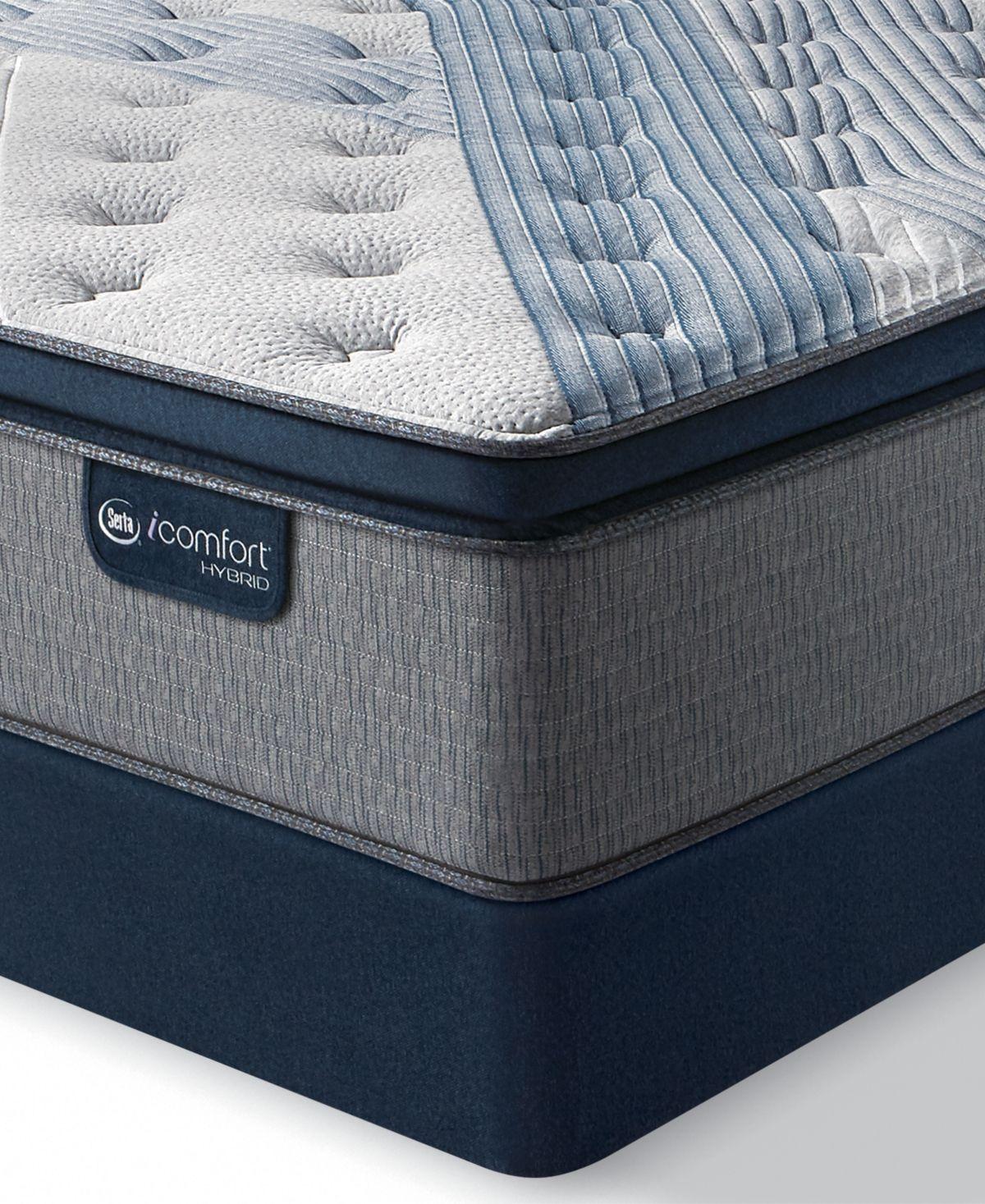 Icomfort By Serta Blue Fusion 1000 14 5 Hybrid Plush Euro Pillow Top Mattress Set California King Mattress Sets Pillow Top Mattress Memory Foam