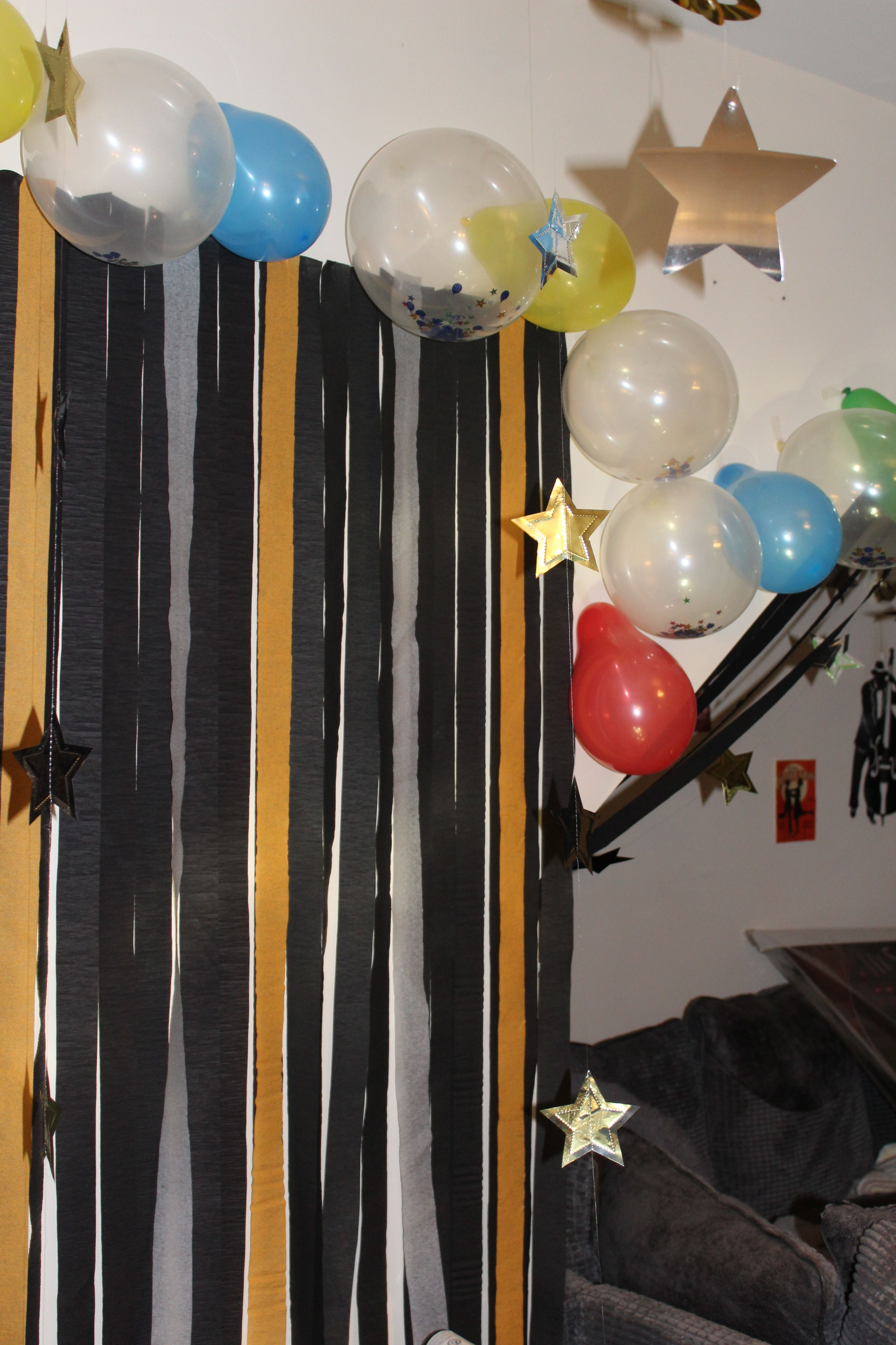 I Used Plenty Of Black Gold And Silver Streamers Along With Balloons To Make My Gatsby Theme Come To Life Great Gatsby Party Gatsby Party Gatsby Theme