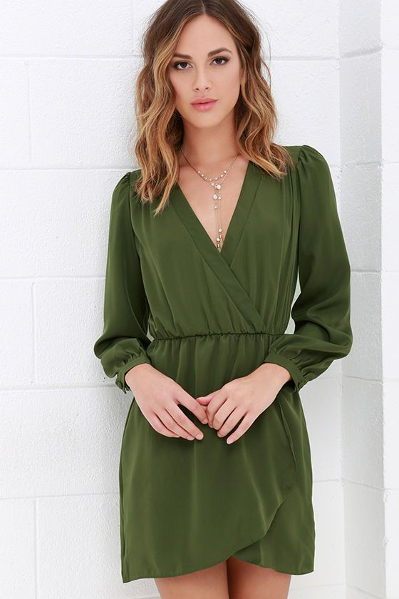 c75c92fb568 That s a Wrap Olive Green Long Sleeve Dress at Lulus.com!