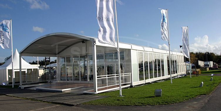 small curve shpae events tent with wooden floor ms series arcum