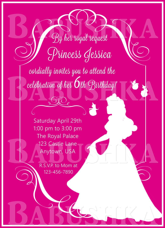 Sleeping Beauty Birthday Party Invitation Princess Aurora Invite By BabushkasPrintables On Etsy