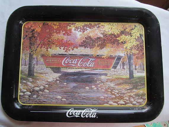 Coca Cola Tray Red Covered Bridge  Jim Harrison Autumn Bridge