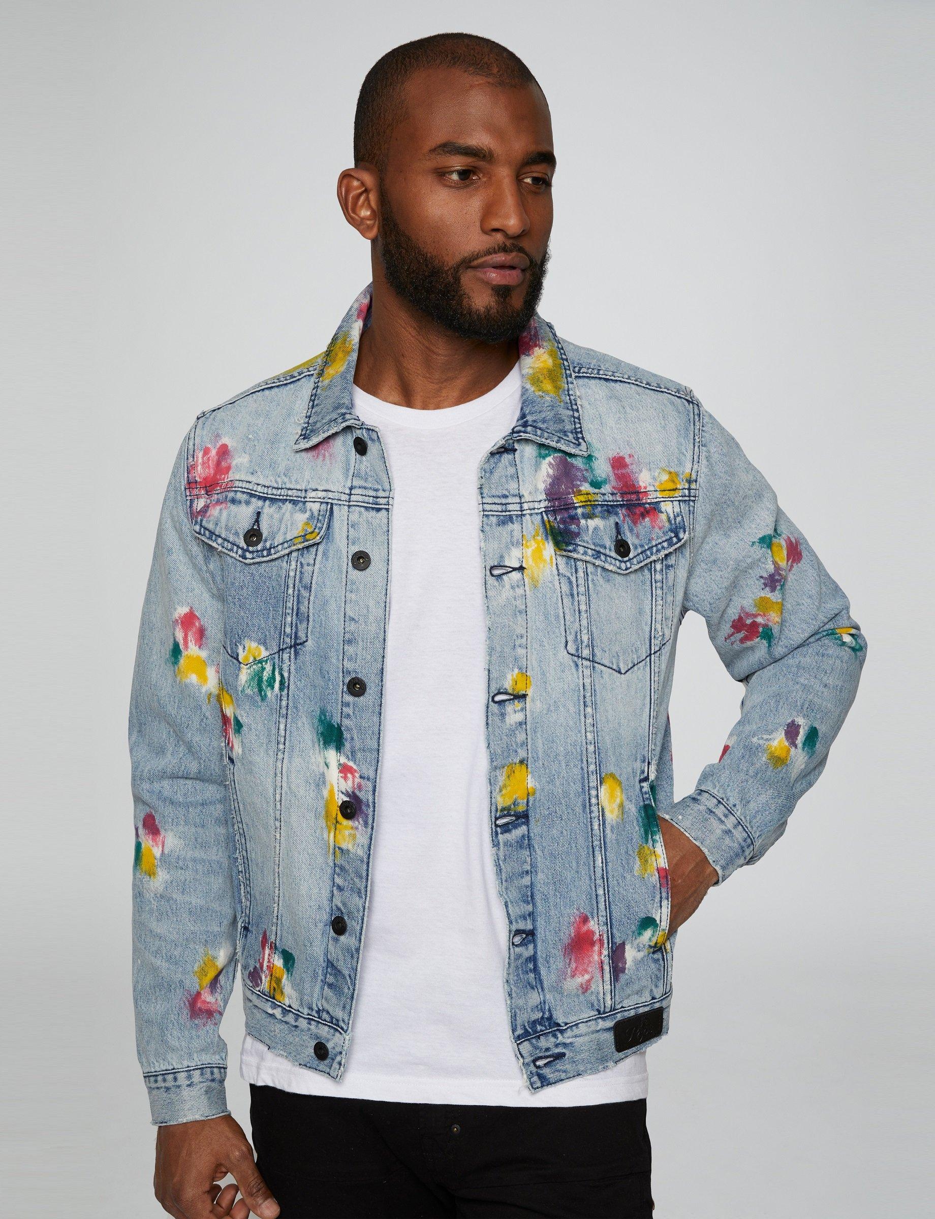 Paint Splatter Denim Jacket Denim Jacket Jackets Mens Denim [ 2400 x 1840 Pixel ]