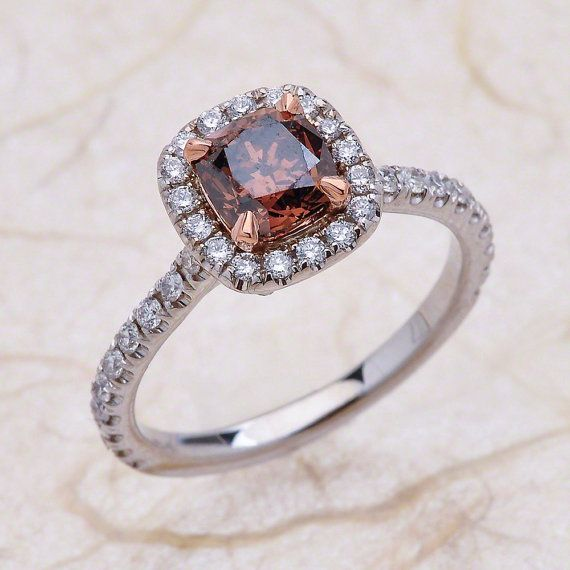 Champagne Cognac Fancy Brown Micro Pave Diamond Halo Engagement Ring Rose And White Gold