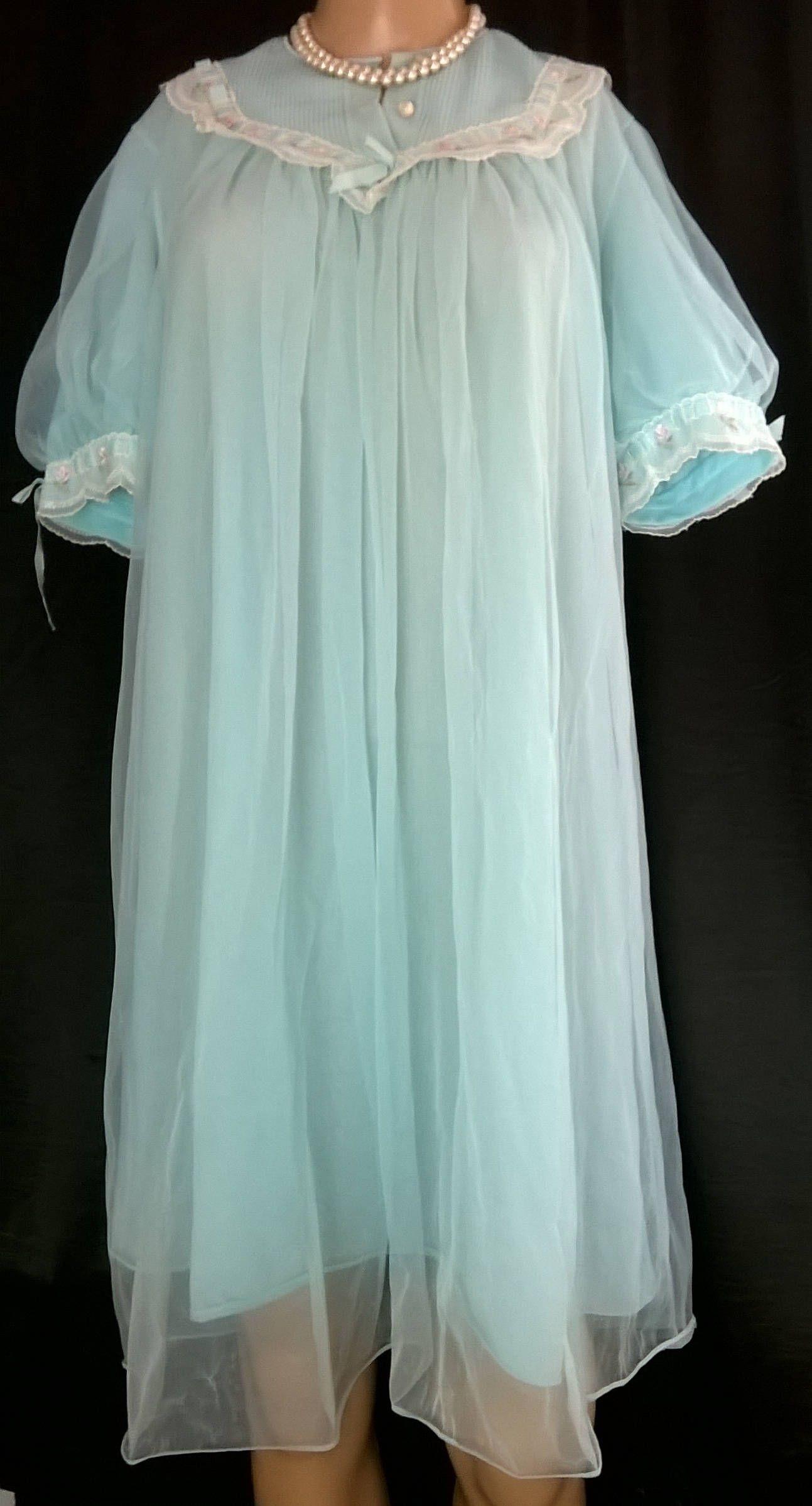 Vintage Blue Negligee 1960s Bri-Nylon Peignoir Nightie Vintage Lingerie 60s Double  Layered Robe St Michael Nightdress Size 34 36