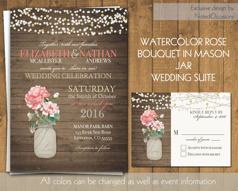 diy rustic wedding invitations burlap%0A Rustic Wedding Invitation Set Mason Jar Wedding Burgundy Plum Wine Country  Wedding Peony Purple Barn Wood Invite RSVP DIY Template Printable