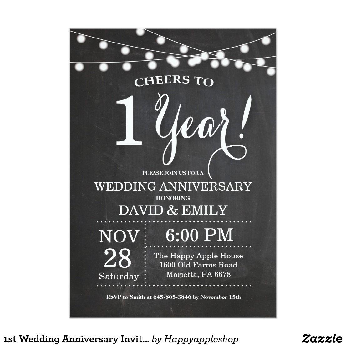 1st Wedding Anniversary Invitation Chalkboard Zazzle Com Anniversary Invitations 90th Birthday Invitations Wedding Anniversary Invitations
