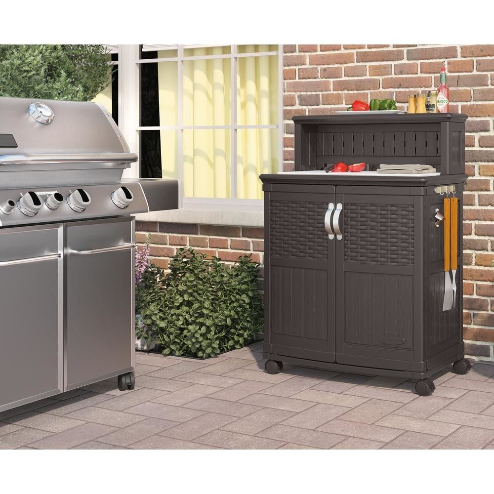 48 Gal Patio Storage Prep Station Cart Outdoor Serving Table Cabinet Wheels New Suncast With Images Patio Storage Suncast Patio Bbq Utensil Storage