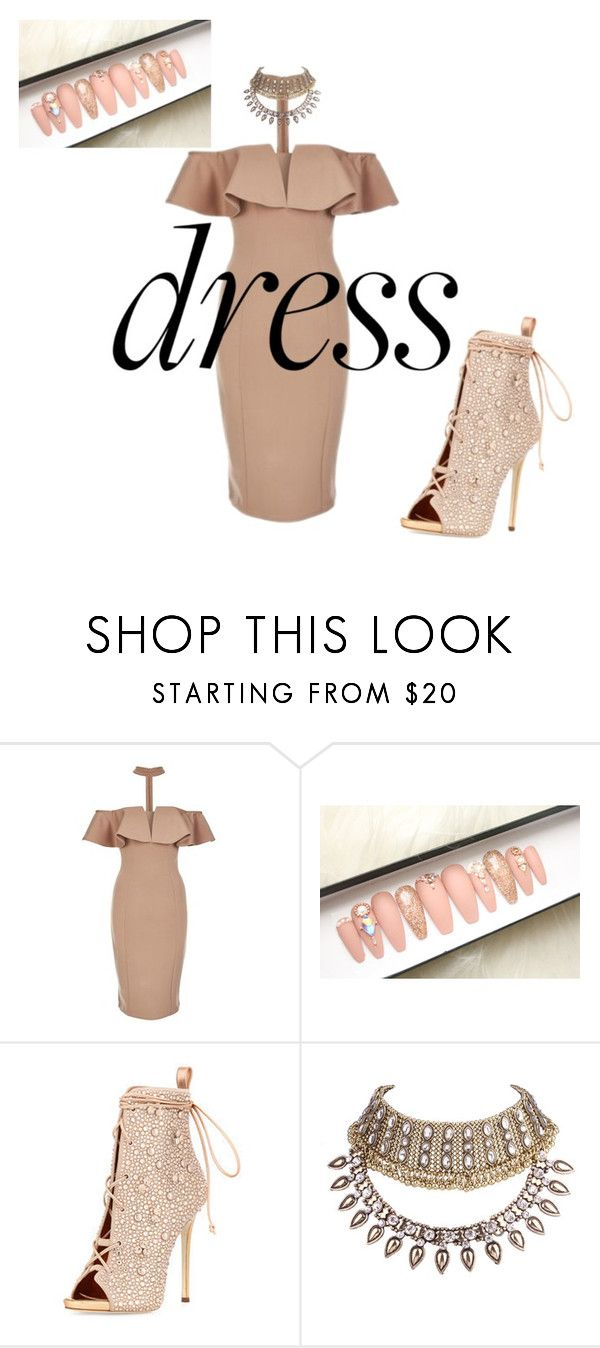 """""""Dress bling nude"""" by melissa-sonday ❤ liked on Polyvore featuring Rare London and WithChic"""