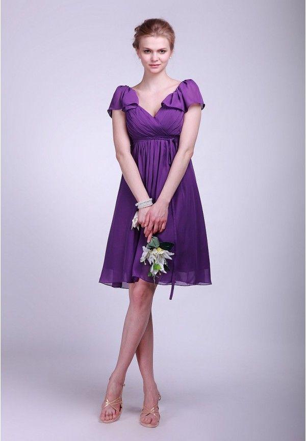 Beautiful Simple Purple Wedding Dress