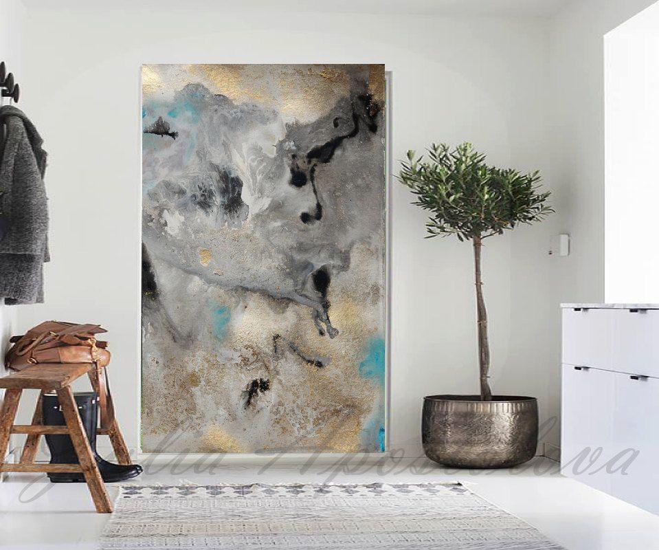 60inch, Watercolor Print, Canvas, Large Wall Art, Pastel, Modern Art Print, Gold…