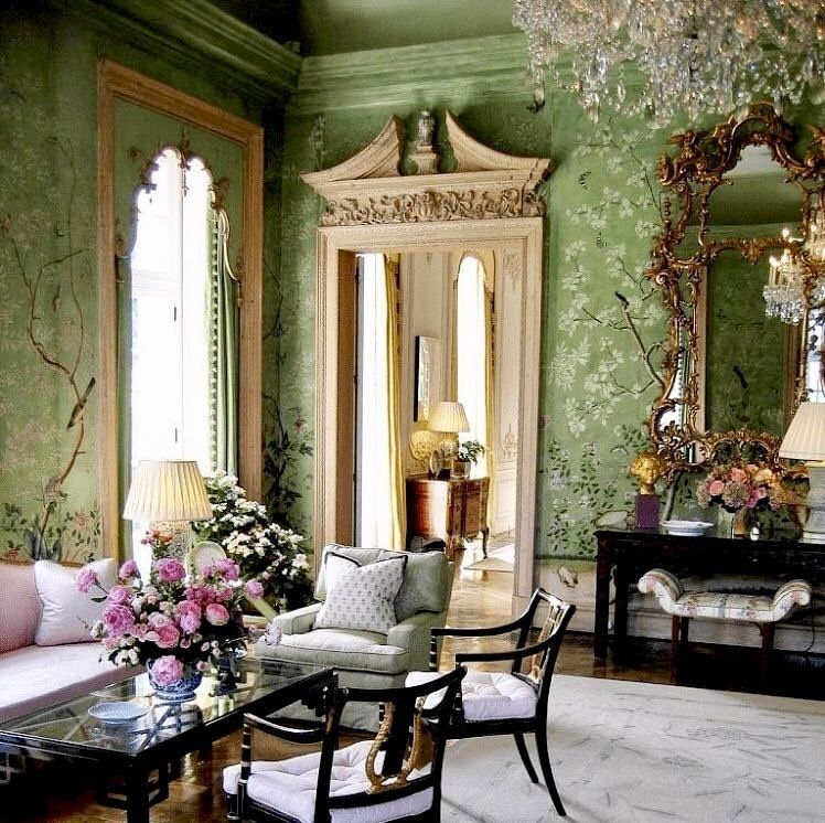 The Green Room At Winfield House With 18th Century Chinoiserie Winfield House Green Rooms Living Decor