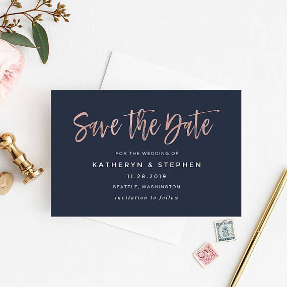 Rose Gold Navy Blue Save The Date Template Printable Save Etsy Wedding Saving Gold Save The Dates Blue Save The Dates
