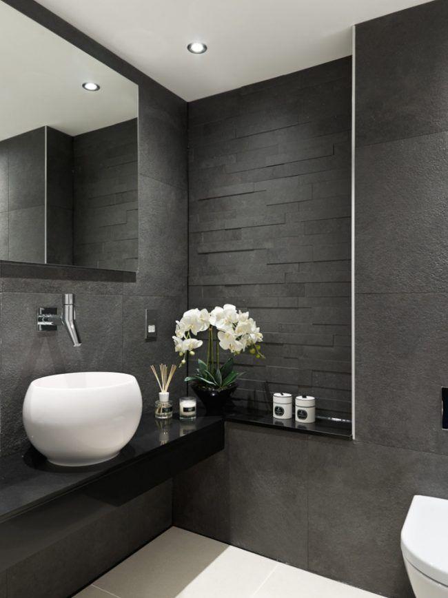 Entzuckend Badezimmer Fliesen 2015 Schwarz Texturen Runder Waschbecken Aufsatz Weiss