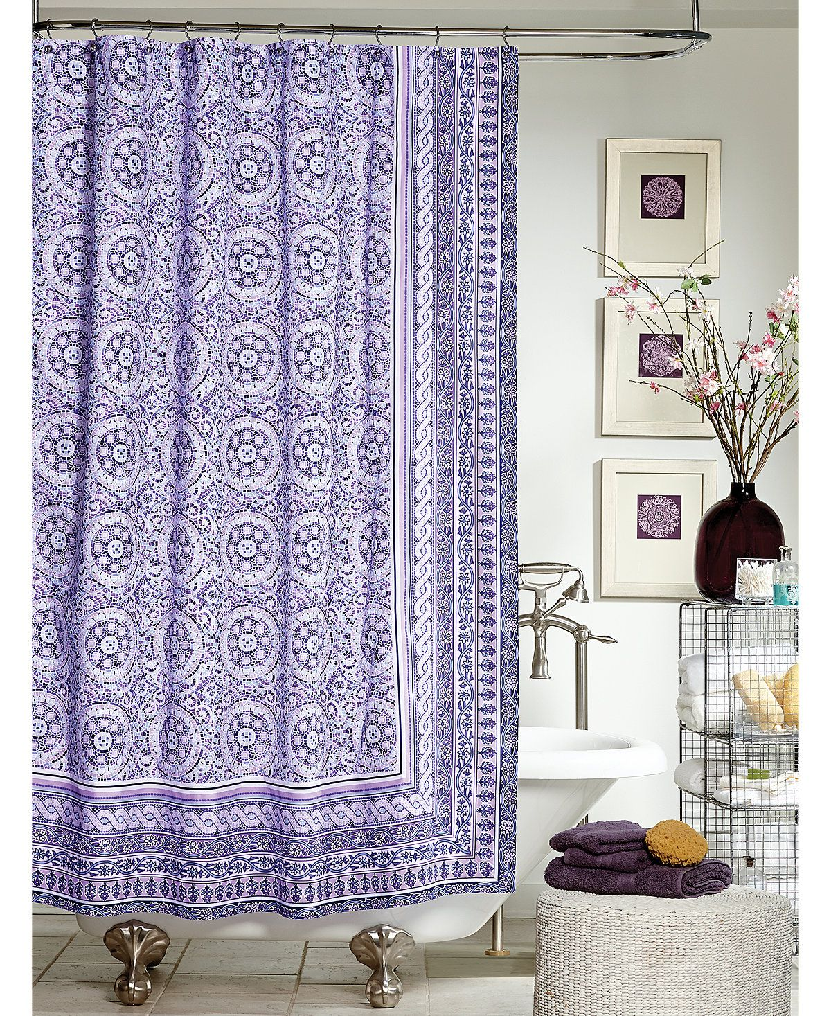 Jessica Simpson Mosaic Tile Shower Curtain Shower Curtains Bed