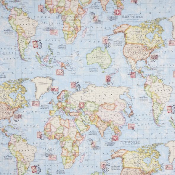 World Map Fabric Windham. Atlas World Map Blue Travel Upholstery Weight Cotton Fabric per half metre Dekora n  l tka Mapa sv ta metr Pinterest