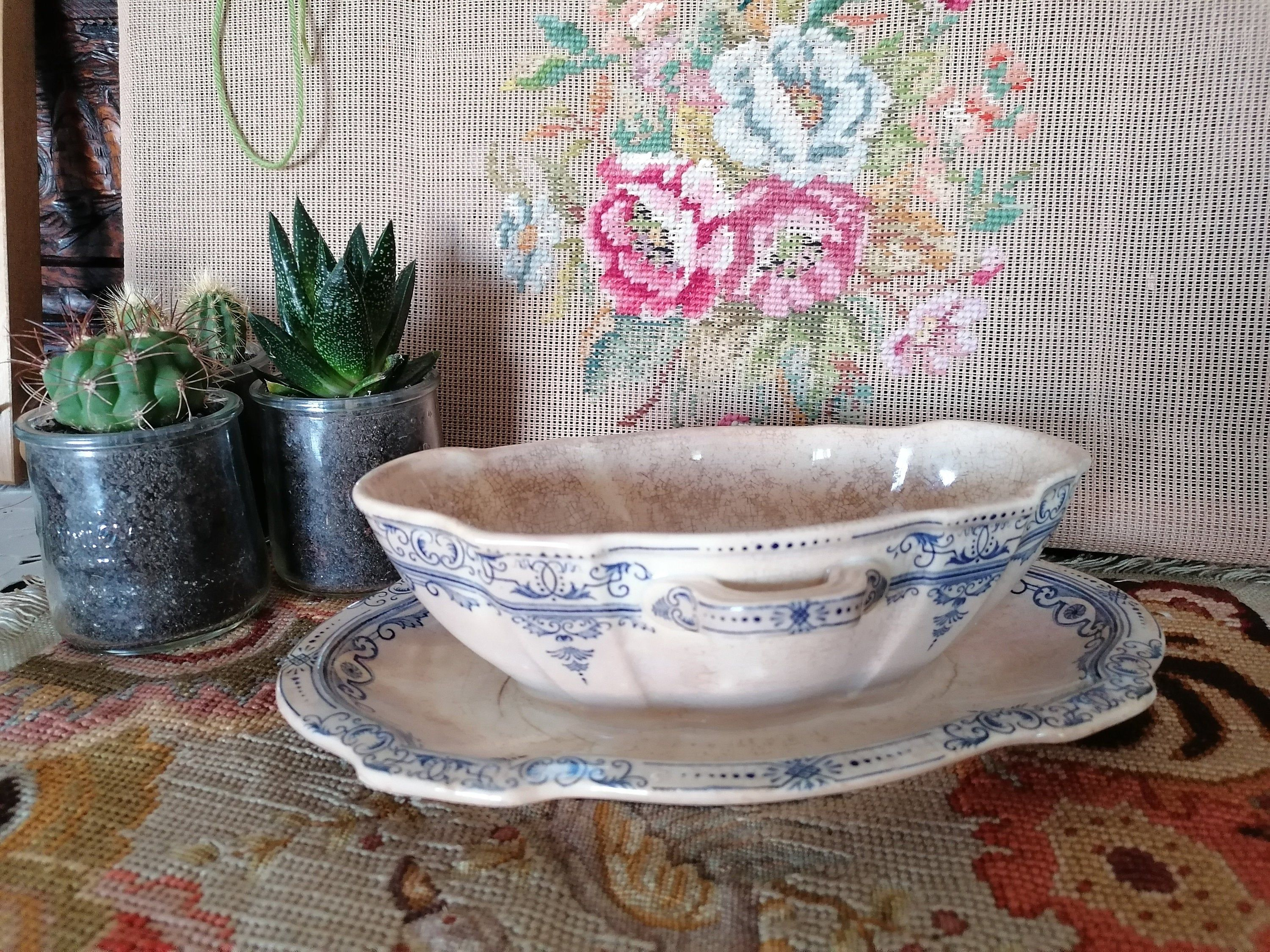 Antique French Sauciere In Faiences Old Table Service The Sauciere Is Attached To The Plate Vintage From The Late 19th Century Antiques Bowl Tableware