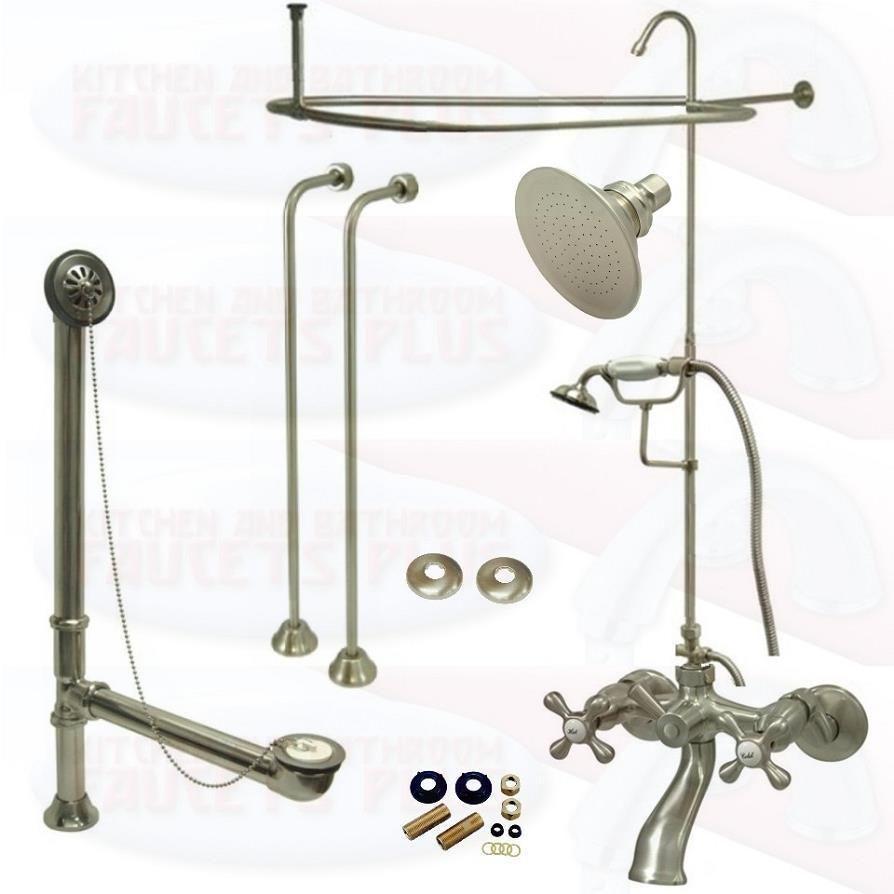 Satin Brushed Nickel Clawfoot Tub Faucet Kit W/Shower Riser ...