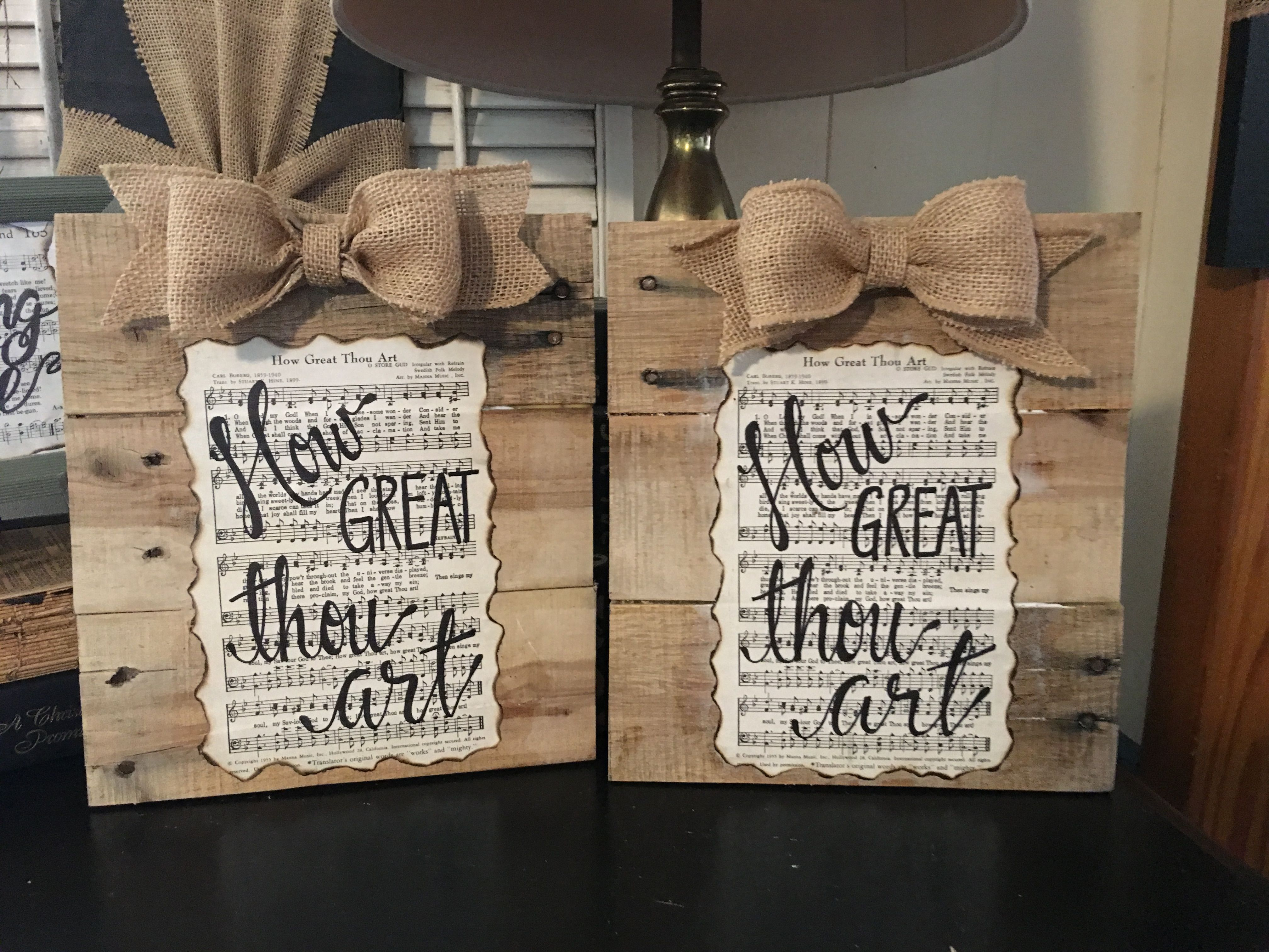 How Great Thou Art Hymnal Page Mounted On Pallet Boards 20 Hymnal Crafts Hymn Art Old Book Crafts