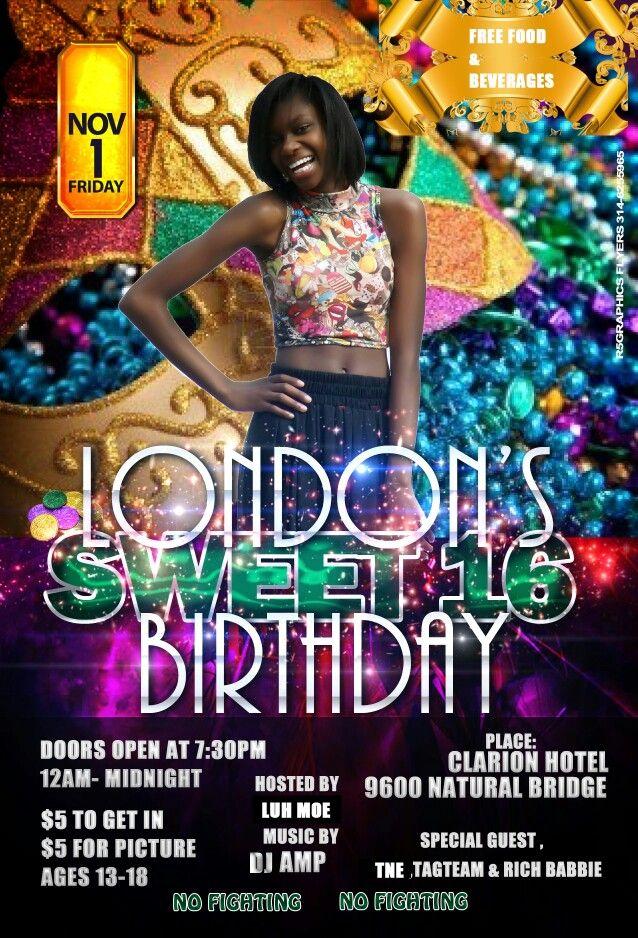 sweet 16 birthday flyer