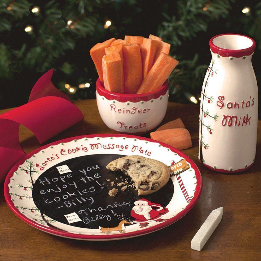 Santa Plate Set Christmas Cookie Tray Milk Cup Holidays