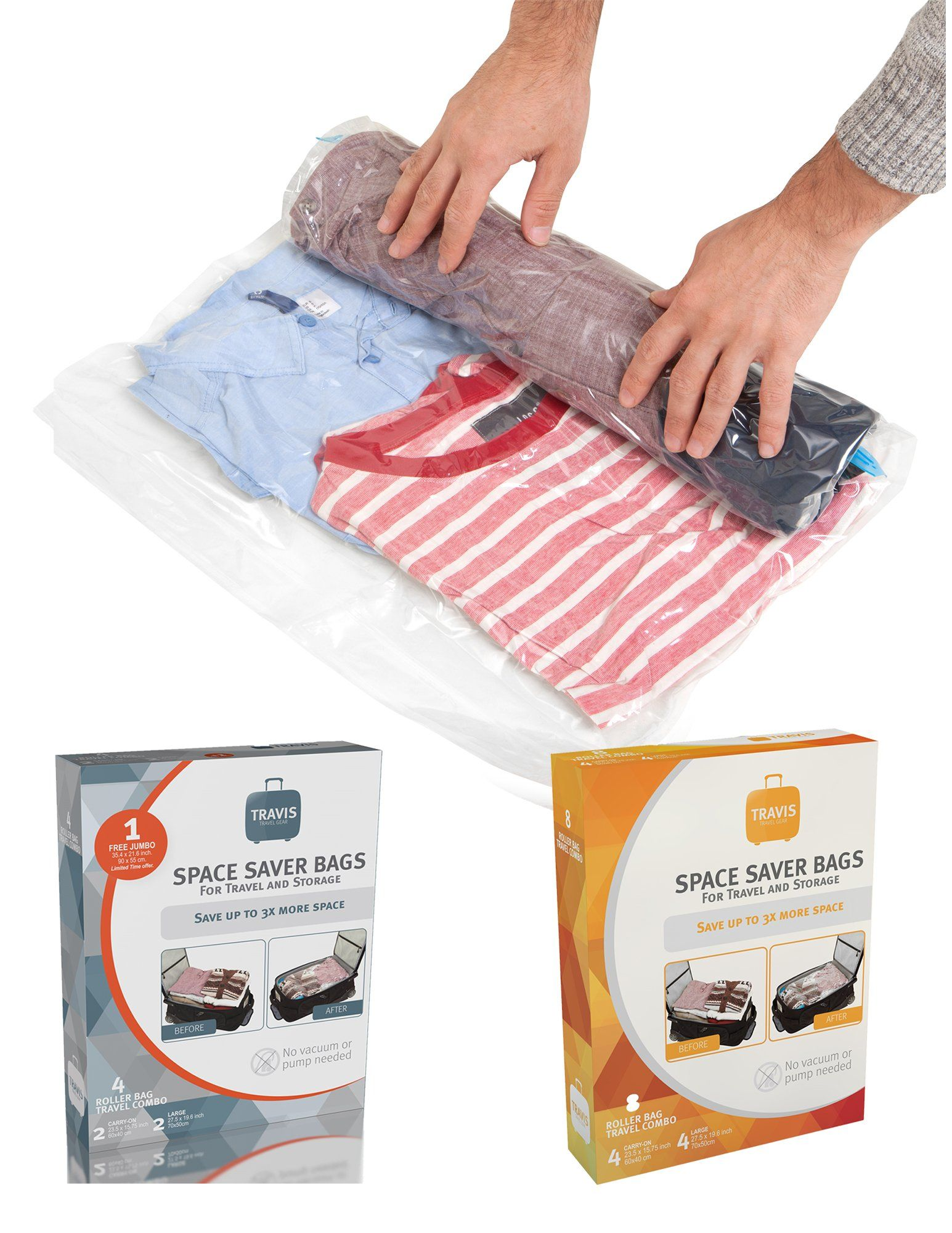 Travis Travel Gear Space Saver Bags No Vacuum Rolling Compression