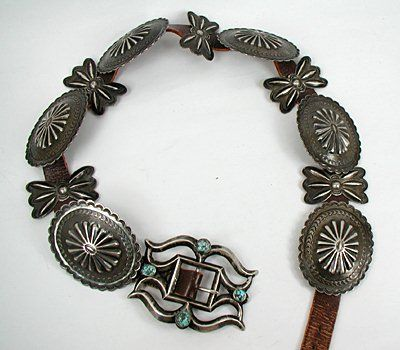 Authentic Native American Indian Sterling Silver Concho Belt
