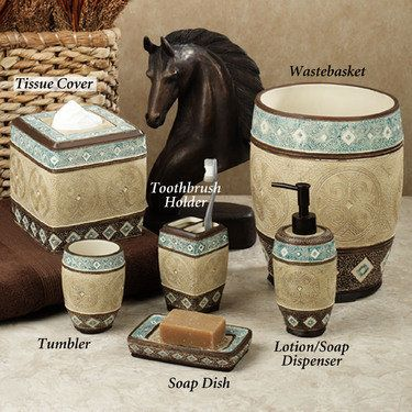 Ordinaire Southwest Theme Blue, Brown And Tan Bathroom Accessories