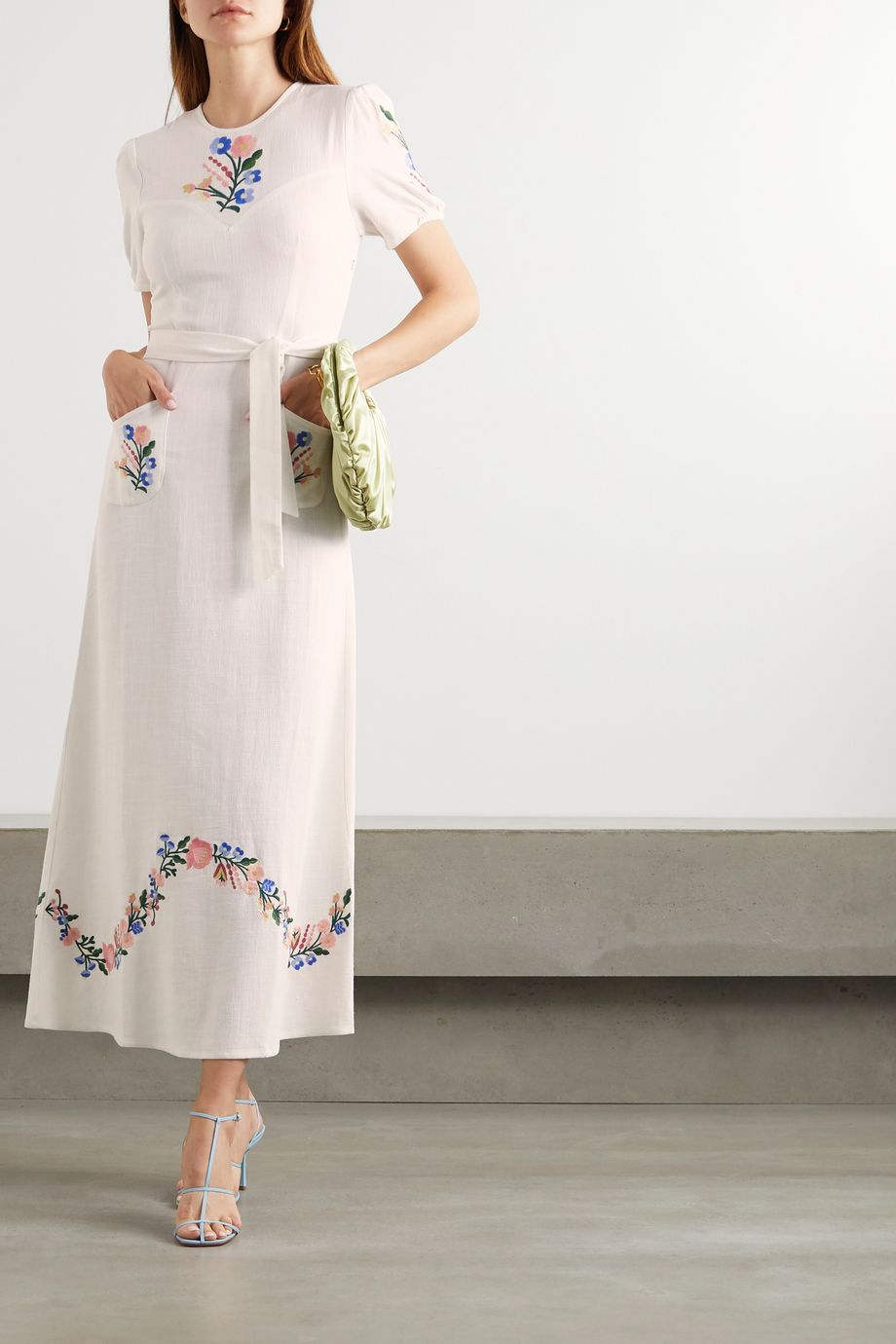 Cream Dominique Belted Embroidered Gauze Midi Dress Rixo Midi Dress Embroidered Midi Dress Select Dress [ 1380 x 920 Pixel ]