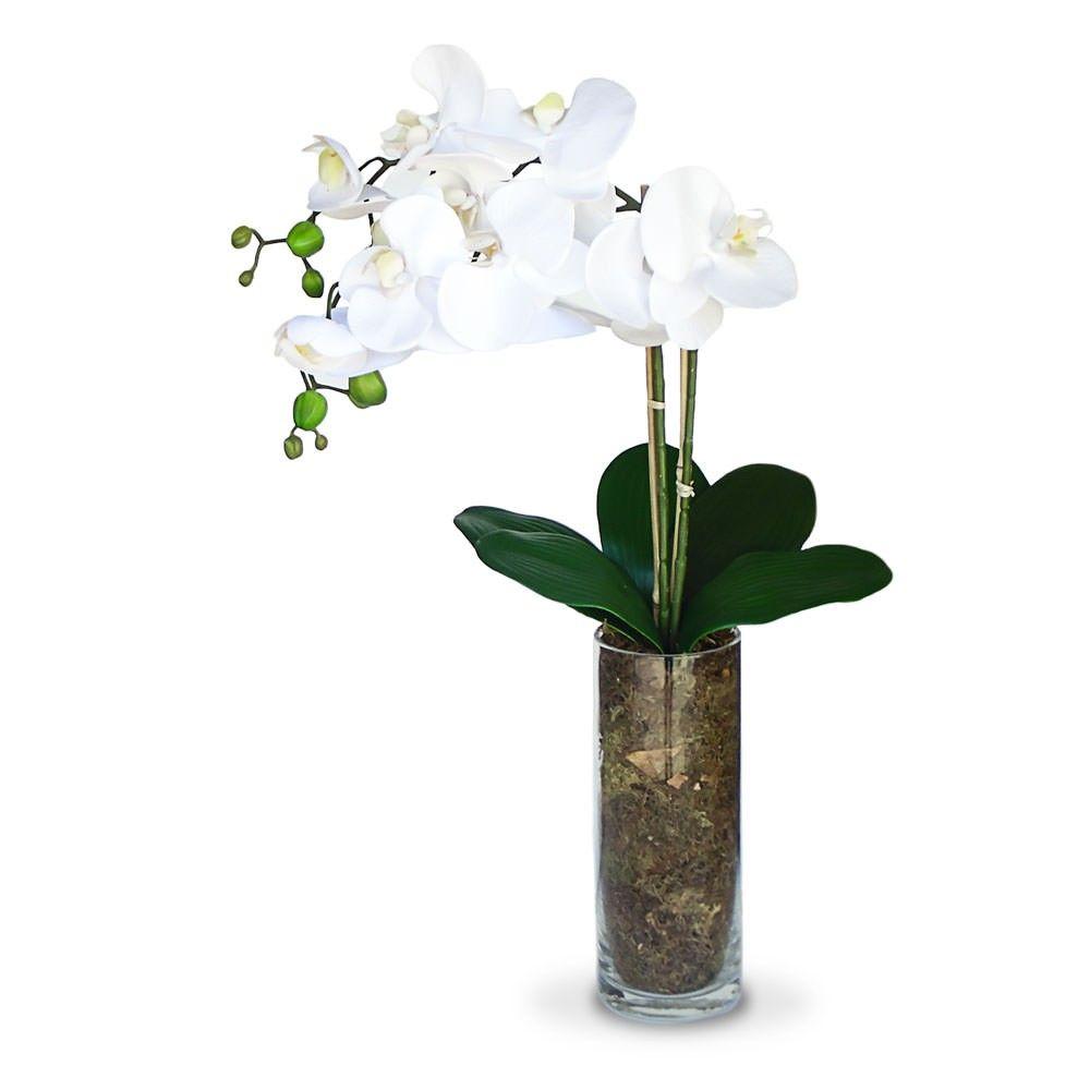 Arranjo De Flores Artificiais Orquideas No Vaso De Vidro 55cm