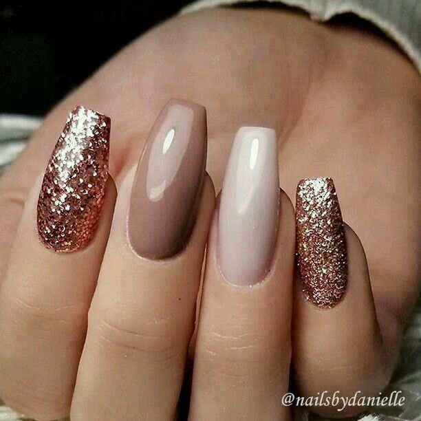 Neutral Glam Nails Coffin Shape Nails Rose Gold Nails Pretty Nails