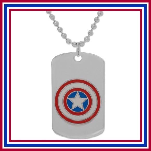 "Captain America Necklace Love Captain America? Or love to show your patriotism? Then this Captain America necklace is for you! New. Stainless Steel. 22""L. Blank on opposite side. Perfect for engraving! No Trades. Price Firm. Liv's Boutique Jewelry Necklaces"