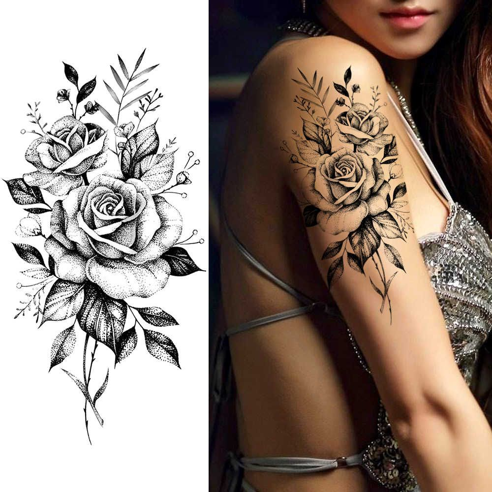 Purple Rose Jewelry Water Transfer Tattoo Stickers Women Body Chest Art Temporary Tattoo Girl Waist Bracelet Flash Tatoos Flower| |   - AliExpress
