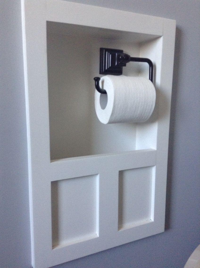 Recessed Magazine Rack And Toilet Paper Holder Bathroom Makeover Recessed Toilet Paper Holder Bathroom Design