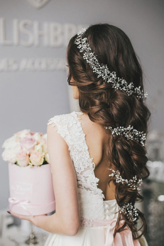 BOHO 2019 Bridal Pearl Crystal Hair Vine Super Extra Long, Bohemian Wedding Pearl Crystal Hair Vine, Bridal Hairpiece