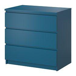 Malm Kommode Mit 3 Schubladen Turkis Ikea Kinderzimmer Deko