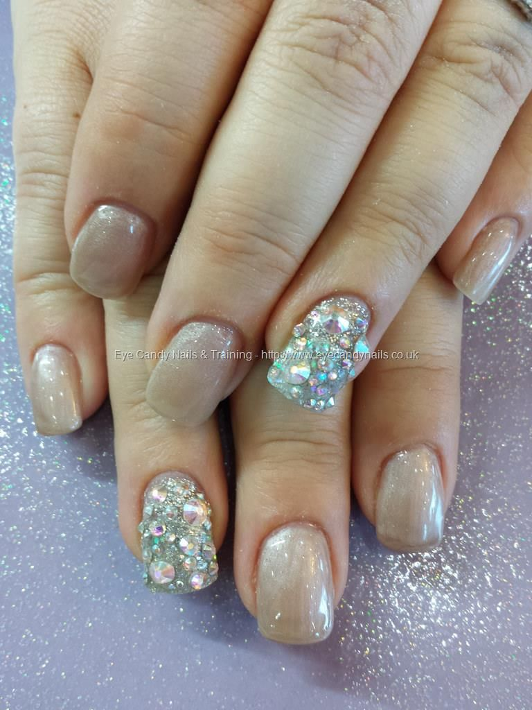 5836838d8 Crystal nails nude gel with swarovski crystal ring fingers | Diy ...