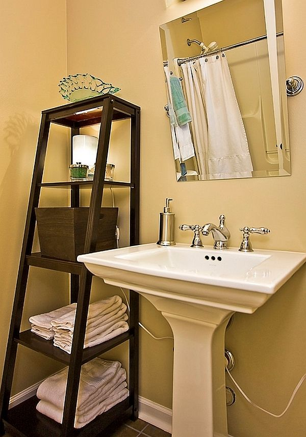 Stepping It Up In Style 50 Ladder Shelves And Display Ideas Chicago Bathroom Corner Shelf Powder Room Contemporary With Mirror Rectangular Vessel Sinks