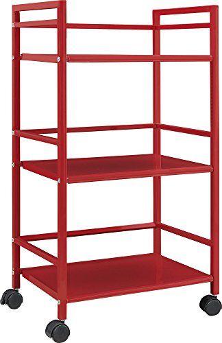 Altra Marshall 3 Shelf Metal Rolling Utility Cart, Red Al   - küchen ikea gebraucht