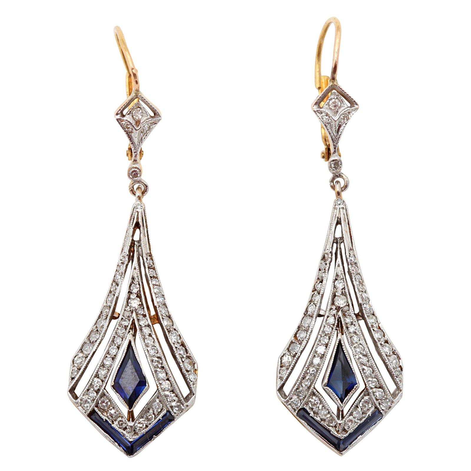 Art Deco Sapphire And Diamond Drop Earrings
